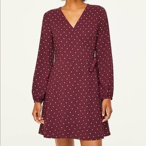 Loft Maroon Polka Dot Wrap Dress